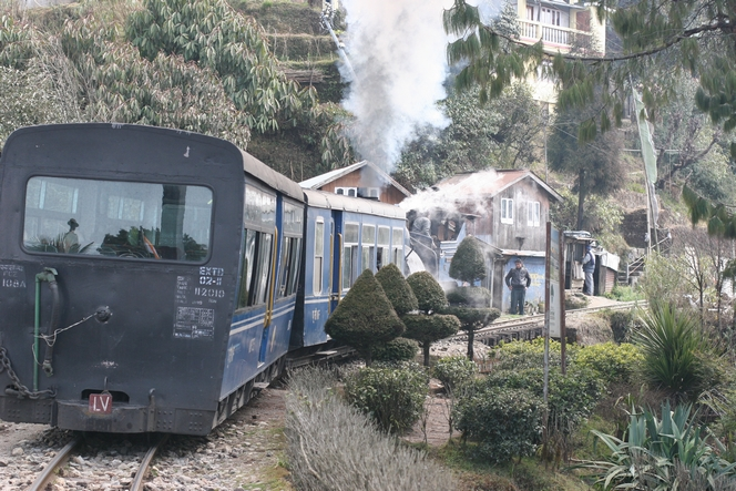 Toy Train taking a break for the delight of tourists