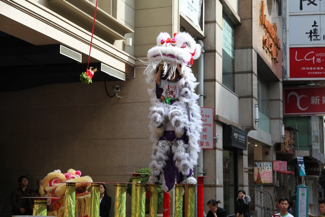 The lion's dance in the Chinese New Year festivities