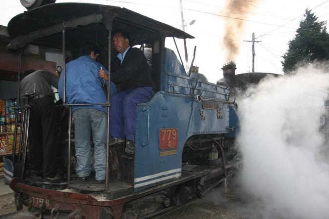 The little Darjeeling train manoeuvring in the street