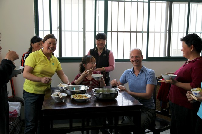 Mealtime in a Chinese tea factory