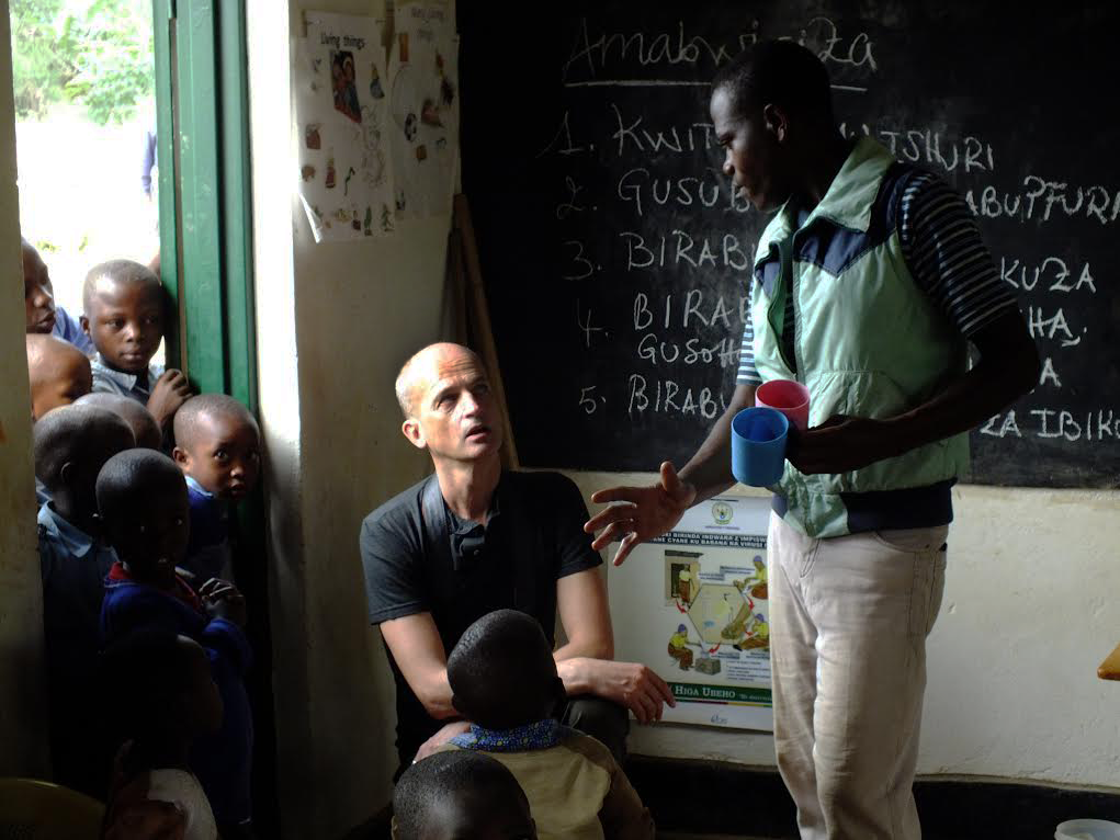 FX Delmas visiting a school in Rwanda